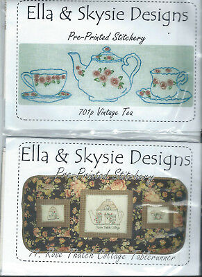 2 x Ella & Skysie preprinted stitchery patterns, # 71 & 701p