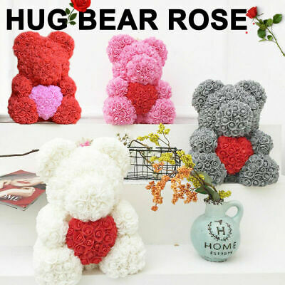 US Pink Rose Bear Flower Teddy Toy 40cm Gift Box Set For Valentine's Day 521 520