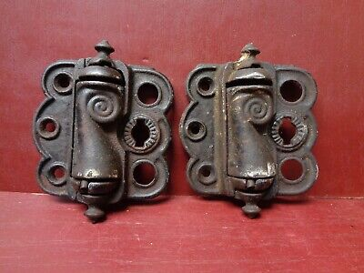 "2 ANTIQUE CAST IRON SCREEN DOOR HINGES STRONG SPRINGS 3""x 3"""