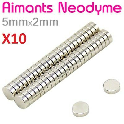 Lot 10 Minis Aimant Neodyme Neodymium Magnets Disque Rond Fort Puissant 5mmX2mm