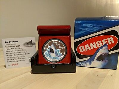 2007 $1 Deadly & Dangerous Great White Shark One Ounce Silver Proof # 4691