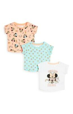 Primark Girls Disney Minnie Mouse/unicorn Pk 3 T-Shirts Bnwt All Ages