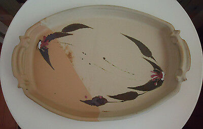 Lovely Vintage Oblong Australian Pottery Handled Serving Platter Tray *A Collins