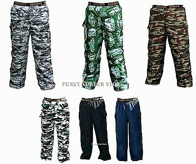 Mens Boys Fleece Lined Thermal Elasticated Cargo Combat Work Over Trousers Pants