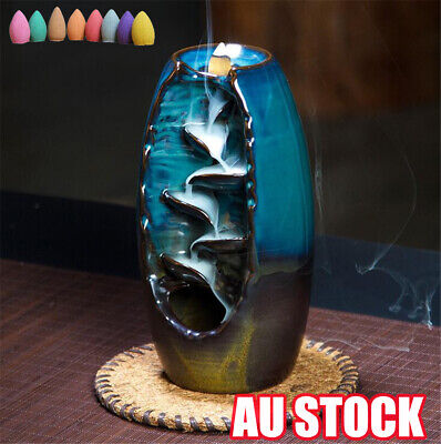 Mountain River Handicraft Incense Holder Backflow Ceramic Burner Censer Holder E