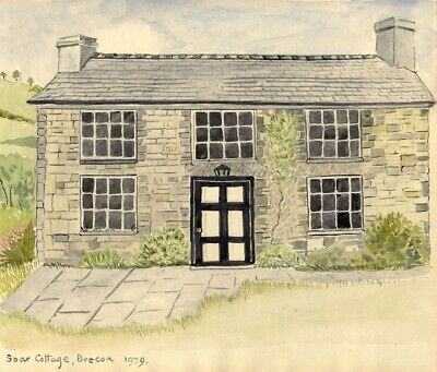 Soar Cottage, Brecon Beacons, South Wales - Original 1979 watercolour painting