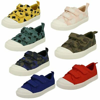 Childrens Boys Girls Clarks Pattern Detailed Canvas Shoes - City Flare Lo T