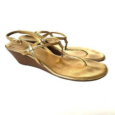 afe68a79d Tory Burch Emmy Wedge Sandals Womens 9.5 Gold Metallic Thong Shoes Leather  EUC