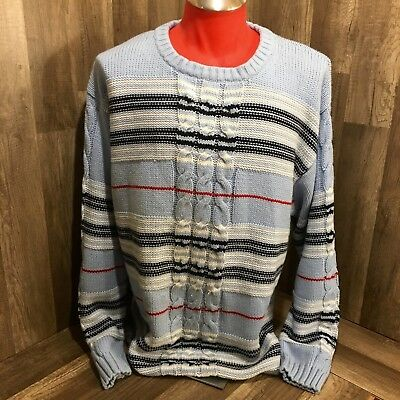 0306b5dbb2 Men s South Pole cable knit sweater Blue and white size L thick and warm