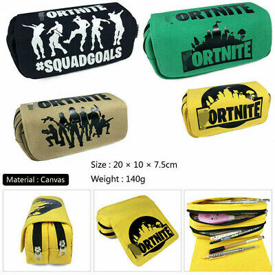 Themed Pencil Case Zipper Canvas Student Stationery Storage bag Case Cool Gift