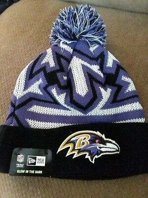 1ba1139133cb6 Baltimore Ravens New Era NFL Glowflake Pom Knit Hat Beanie Glow in Dark  RARE NWT