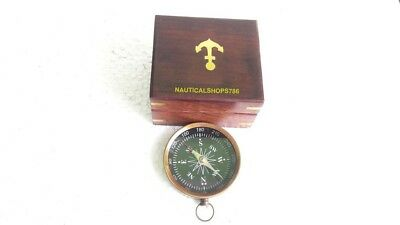 Vintage Handmade Nautical Maritime Compass Authentic Model With Anchor Box