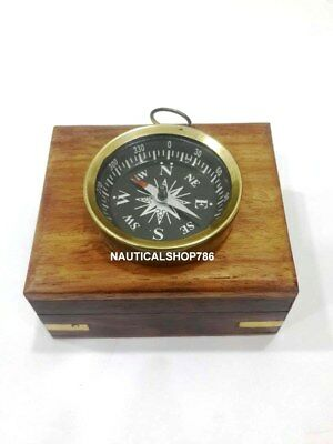 Antique Handmade Maritime Nautical Compass Marine Collectible Compass With Box