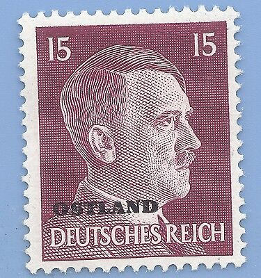 Nazi Germany Third Reich Overprint Ostland Estoina 15 Hitler stamp  WW2 ERA
