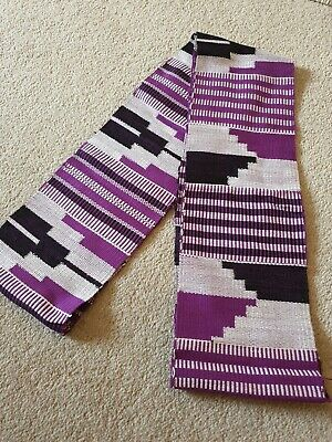 Kente Cloth Scarf from Ghana African Authentic Handwoven Fabric Stole Purple
