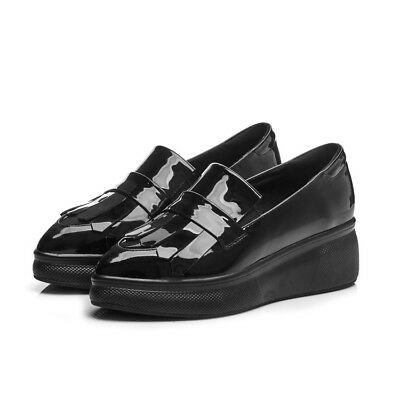 c086bff1c308 Womens Chic Patent Leather Wedge Slip On Antiskid Shoes Tassel Pointed Toe  Pumps