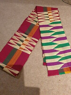 Kente Cloth Scarf from Ghana Authentic Handwoven Fabric Stole Pink