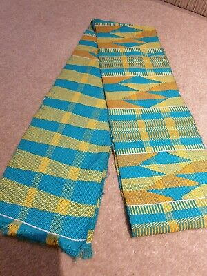 Kente Cloth Scarf from Ghana Authentic Handwoven Fabric Stole Turquoise