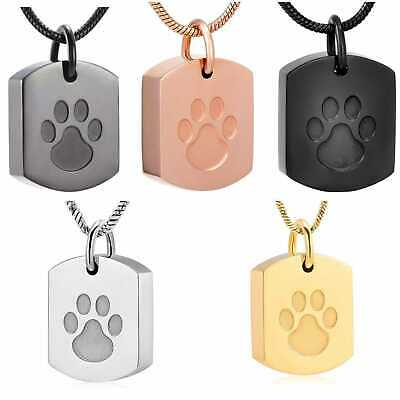 Dog/Cat/Pet Ashes Paws Necklace -Memorial Keepsake Stainless Steel Urn Jewellery