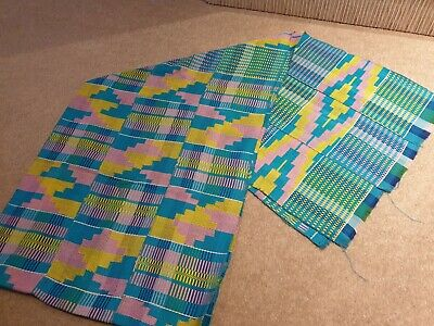Kente Cloth Scarf from Ghana Authentic Handwoven Fabric Stole Turquoise Large