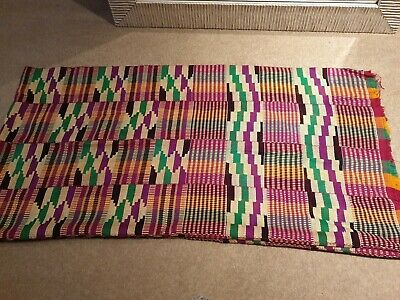 Kente Cloth Scarf from Ghana Authentic Handwoven Fabric Stole Extra Large Piece