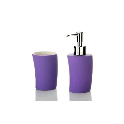 Set baño dispensador y vaso de stoneware en color morado