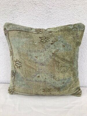Oushak Ushak Rug Cushion Cover  Muted Color Low Pile Sofa Bed Pillow 16''x16''