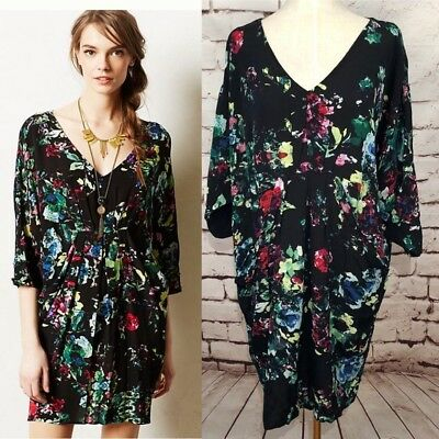 35e5634ee0fa Anthropologie Maeve Petal Palette Tunic Dress Black Floral Dolman Sleeve  Size S