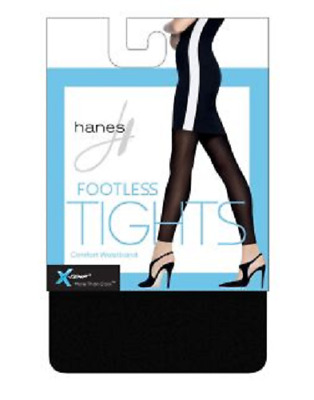 555624bae0148 Hanes X-Temp Womens Black Footless Tights 60 Denier Size Large Med Small New
