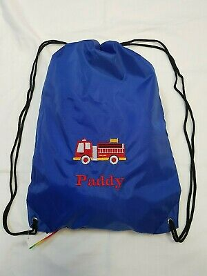 GREAT KIDS GIFT /& NAMED TOO PERSONALISED FIRE ENGINE GYM PE SWIMMING BAG