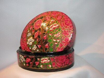 ( # 7) Antique - Kashmir - Paper Matches Large Jewerly Box With Lid - Hand Paint