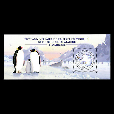 TAAF 2018 - 20th Anniversary of the Madrid Protocol Birds Maps Penguin - MNH