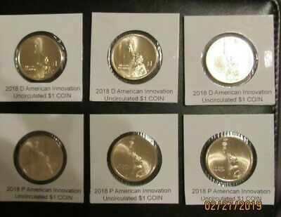 2018 P D(3sets)American Innovation Golden Dollars 6 Best Grade $1 Coins US UNC.