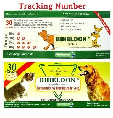 3x30=90 Tablets Cat Dog puppy Wormer  Broad Spectrum Dewormer Tracking Number