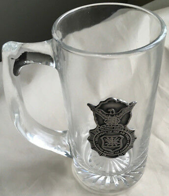 Genuine US Air Force Clear Glass Mug Military with metal logo design