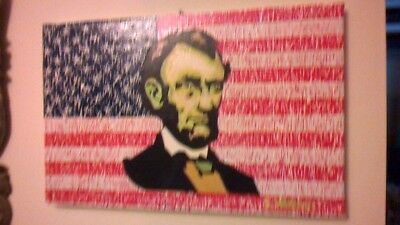 lincoln handmade painting oil on canvas signed