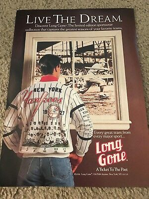 Vtg 1927 NEW YORK YANKEES SHIRT 1990 Print Ad LONG GONE COOPERSTOWN COLLECTION