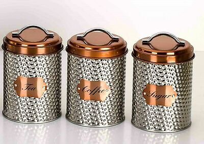 Hammered Ssteel Copper Tea Coffee Sugar 3 Canisters Set
