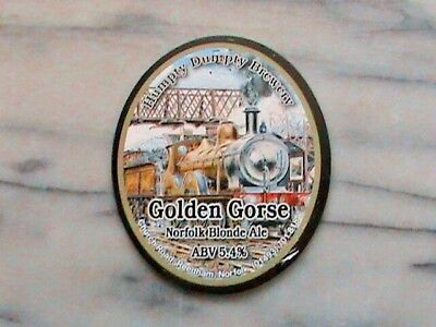 Humpty Dumpty Golden Gorse real ale beer pump clip sign M & GN 4-4-0 steam Loco