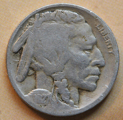 1927 Buffalo Nickel Indian Head Five Cents 21.2 mm