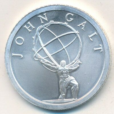 John Galt One Troy Oz .999 Fine Silver Round 2013-Uncirculated! Free Shipping!