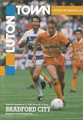 Football Programme - Luton Town v Bradford City - League Cup - 25/9/1990