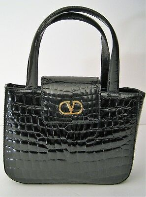 Valentino Les Sacs patent alligator black leather small bag purse Italy  vintage a0053d6a53a62
