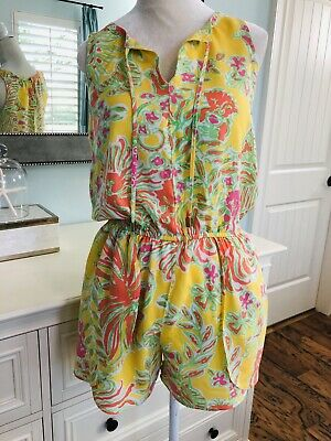 b39bee541dd Lilly Pulitzer for Target Challis Romper Happy Place Yellow Orange Flowers  XS