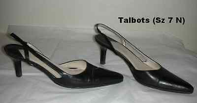 90fa9e95b0c Cute Black TALBOTS Size 7 N (NARROW) Slingback Heels Shoes Made in Italy