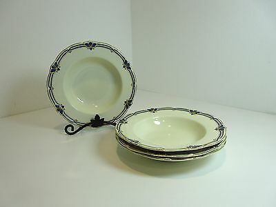 "4 Vintage Grindley England ASHFORD BLUE & GOLD 7 3/4"" Soup Salad Bowl Raised Rim"