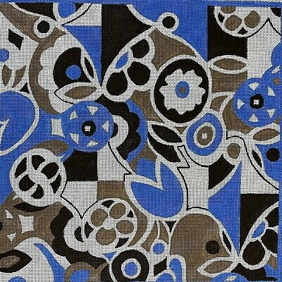 Handpainted Needlepoint Canvas Mod Design Floral Geometric Blue Brown 19.5""