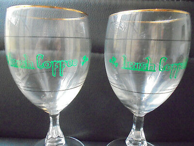 Rare Collectable Pair Of Vintage Irish Coffee Cup Glasses With Gold Rim Vgc