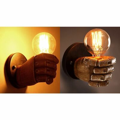 2X(Vintage fist resin wall lamp Loft industrial wind decoration antique wal A6S3