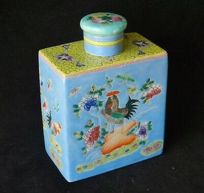 Antique Qing Chinese Rose Famille *JIANDING WAX STAMP* Porcelain Tea Caddy